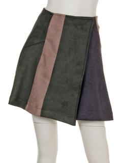 clearフェイクスウェード配色ミニスカート