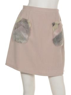 clearフェイクファーポケットミニスカート
