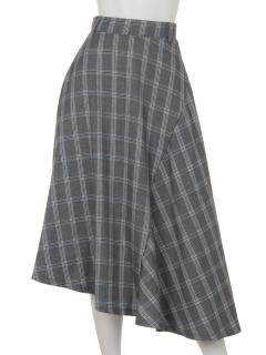 clearグレンチェックアシメフレアスカート