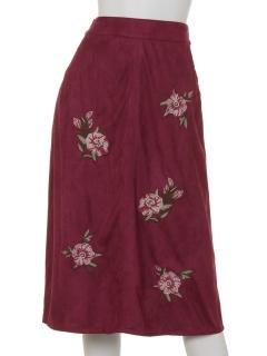 clear刺繍入りフェイクスウェードスカート