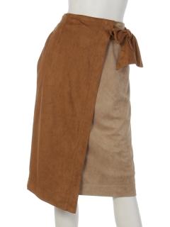clear配色フェイクスウェードラップスカート