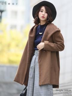 ニット切替ミドル丈コート