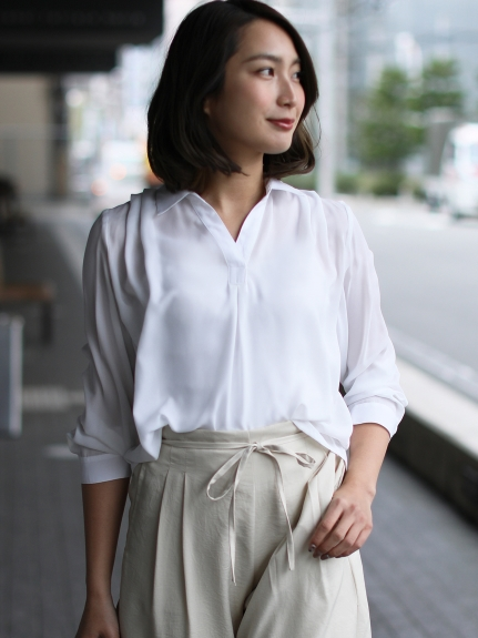clear (クリア) スキッパーシャツ ホワイト