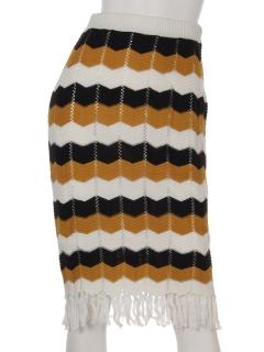 配色かぎ針フリンジスカート