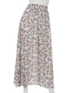 小花柄マキシ丈ロングスカート