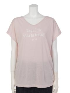 VネックプリントTシャツ【Wayoflife】
