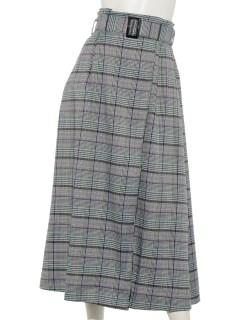 ベルト付きチェック柄ロングスカート