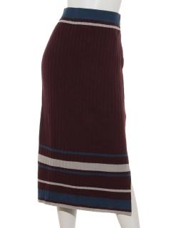マルチボーダーリブニットスカート