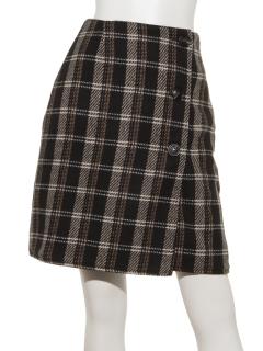 チェック柄リバーシブルラップスカート