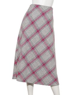 ビッグチェック台形ロングスカート