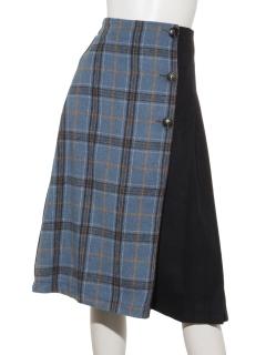 チェック柄配色ラップスカート