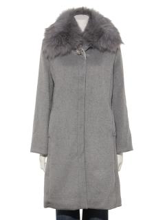 ステンカラー衿ファーコート