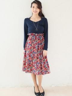 ウエストフリル花柄スカート