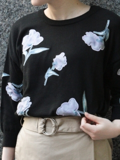 アップリケ刺繍7分袖ニットプルオーバー