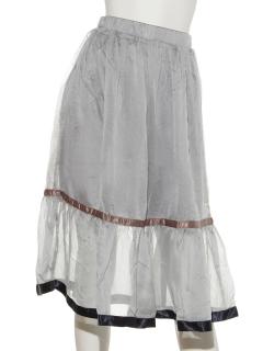 メタリック裾テープスカート