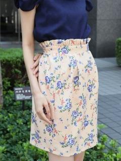 ウエストフリル花柄タイトスカート