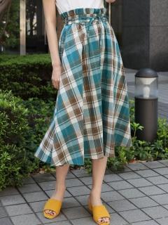 ウエストリボンチェック柄スカート