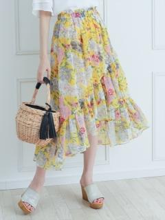 花柄ラッフルフレアスカート