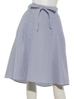 リボン付きチェック柄イレヘムスカート