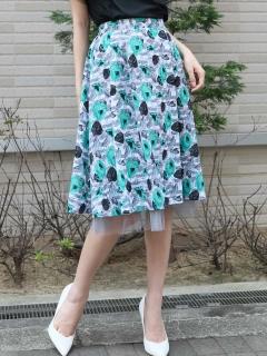 裾チュール花柄スカート