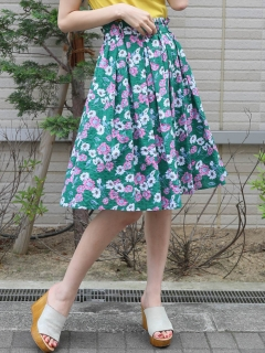 ウエストフリル花柄コットンスカート