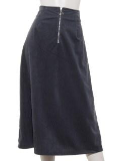 コーデュロイフロントジップスカート