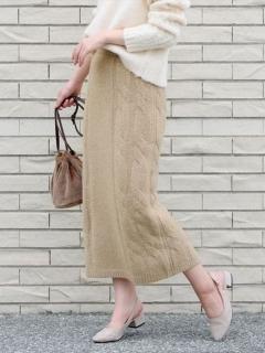 ケーブルニットアップタイトスカート