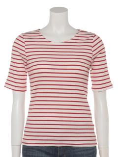 無地5分袖リブTシャツ/ボーダー5分袖リブTシャツ