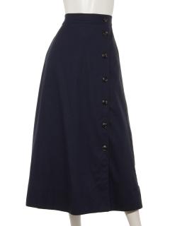 リネン風サイドボタンロングスカート