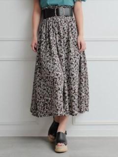 ウエストシャーリングフラワースカート