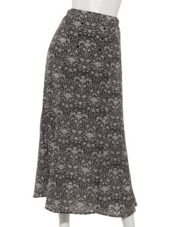 ボタン付きアラベスク柄ロングスカート