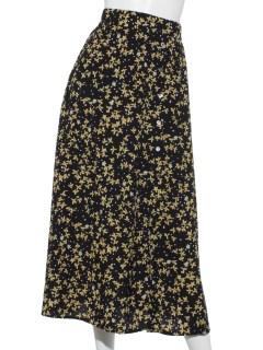 花柄ボタンスリットスカート