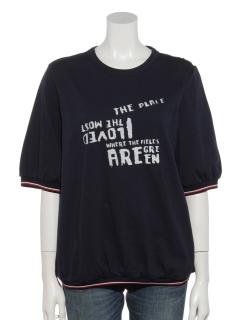 トリコロールリブ使いプリントTシャツ