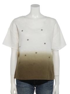 星刺繍段染めブラウス