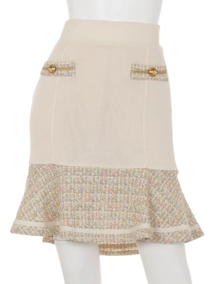 87%OFF Re. Verofonna (ヴェロフォンナ) ツイード切替ニットスカート BEIGE