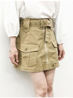 トレンチ風ジッパーミニスカート