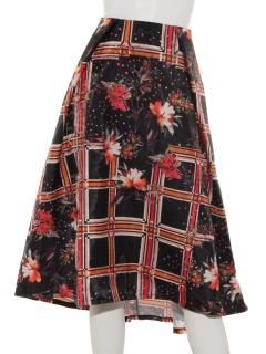 3Dオーガンジーチェックフラワーフレアースカート