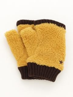ストレッチボア星刺繍指なし手袋