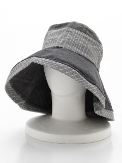 異素材切替チェック柄HAT