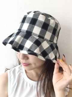 ギンガムつば広HAT