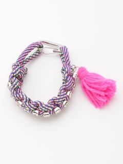 ロープ編みこみビジューブレス