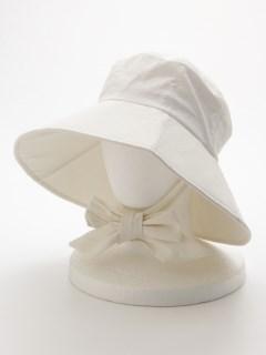 リボンタイ付きつば広HAT