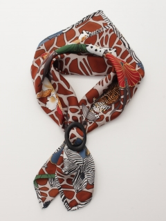 サファリ柄バックル付きスカーフ