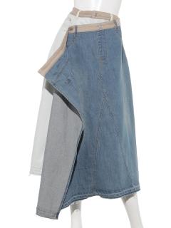 【DOLLUPOOPS】リメイクライクラップデニムスカート