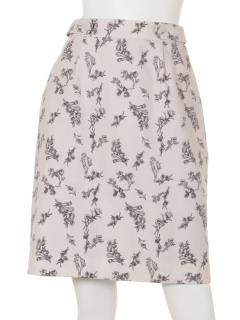 ウエストボタン花柄タイトスカート