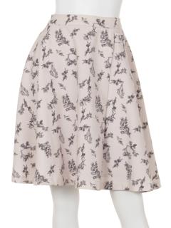 ダブルボタン花柄フレアスカート