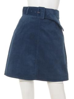 コーデュロイベルト付き台形スカート