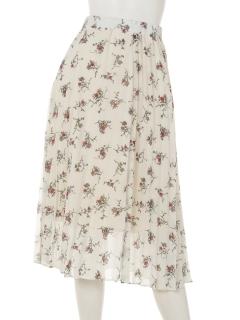 プリーツ花柄スカート