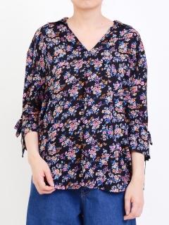 花柄スキッパーシャツ1