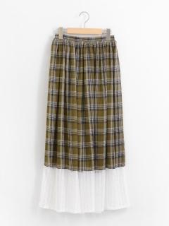 レース切り替えチェック柄スカート